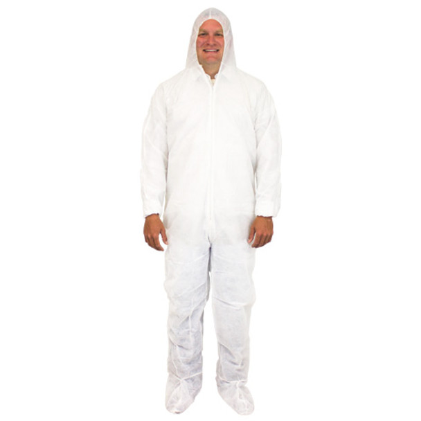 COVERALLS, WHITE XL- BREATHABLE (20% OFF/CASE, INCLUDED IN PRICE) (25/CS)