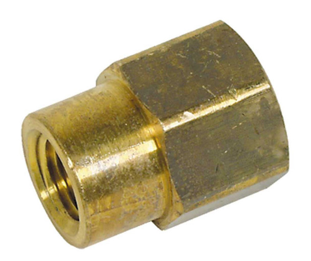 "COUPLING - HEX REDUCING - BRASS - 1/4"" X 1/8"" FPT"
