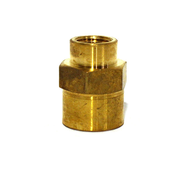 "COUPLING - HEX REDUCING - 1/2"" X 1/4"" FPT - BRASS"