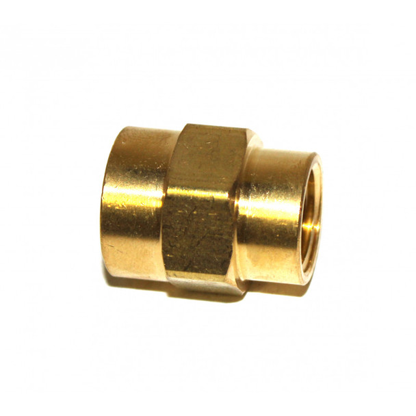 "COUPLING - HEX REDUCING - 1/2"" X 3/8"" FPT - BRASS"