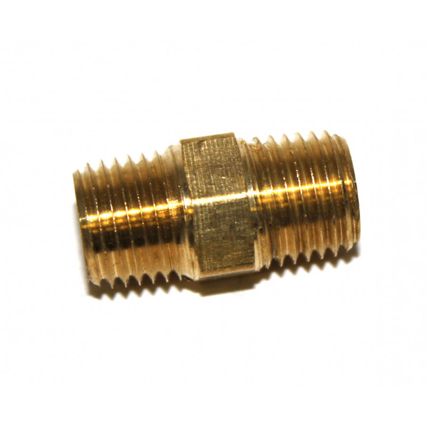 "NIPPLE - HEX - BRASS - 1/4"" X 1/4"" MPT"