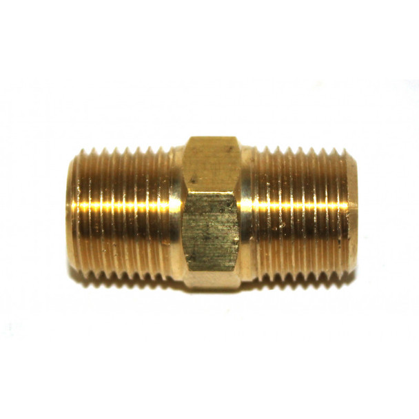 "NIPPLE - HEX - 3/8"" X 3/8"" MPT - BRASS"