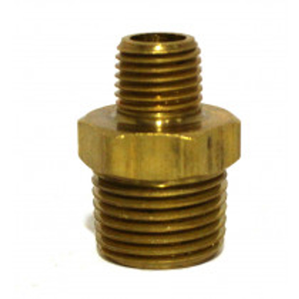 "NIPPLE - BRASS HEX - 1/2"" X 1/4"""