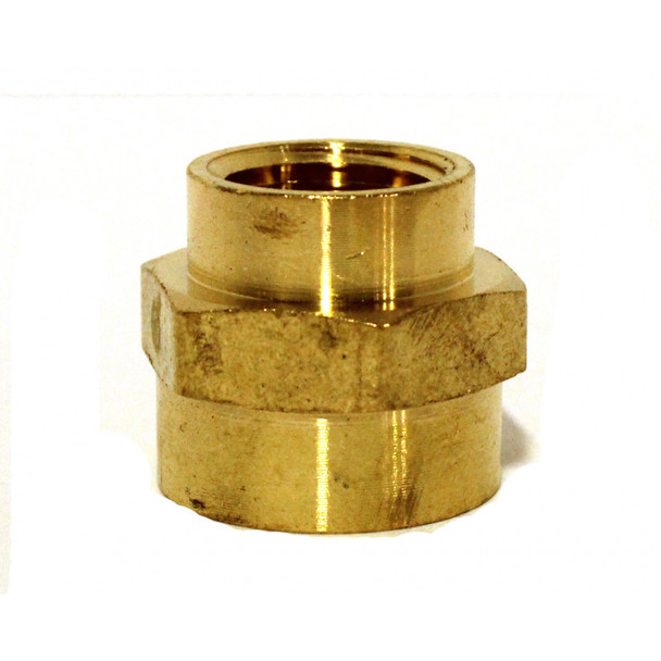 "COUPLING - HEX REDUCING - BRASS - 3/4"" X 1/2"" FPT"
