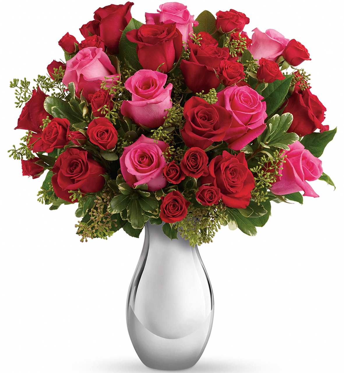 True Romance Autumn Bouquet 8 Red And 8 Pink Roses Salvy The Florist