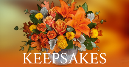 Fall Flowers In Keepsake Containers