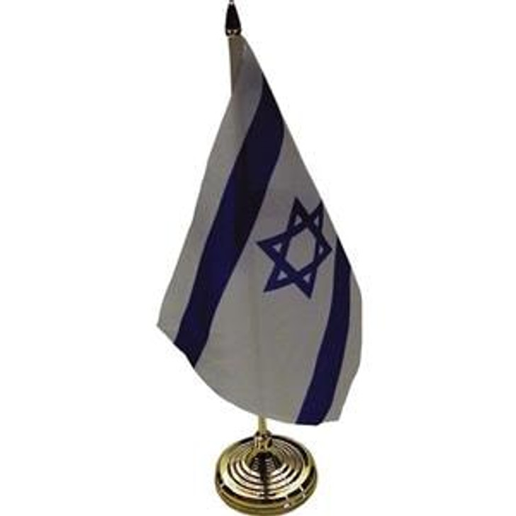 Israeli Table Flag on Sturdy Golden Plastic Stand