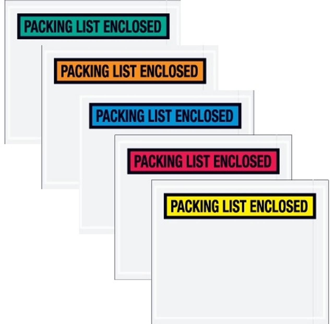 Color Packing List Envelopes