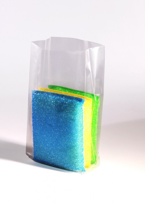 """4""""X2""""x8"""" Clear Gusseted Poly Bags 1.5 mil"""