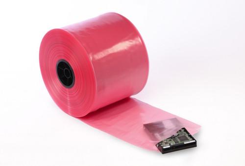 "10"" Pink Antistatic Tubing Amine-free 4 mil 750 FT/RL"