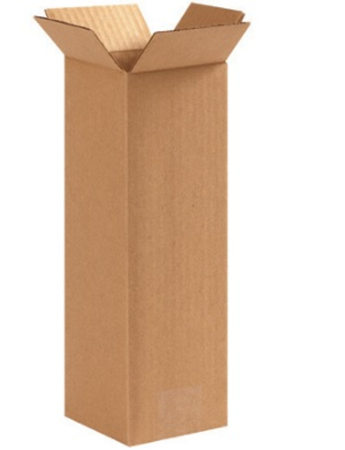 "4"" x 4"" x 12"" (ECT-32) Tall Kraft Corrugated Cardboard Shipping Boxes"