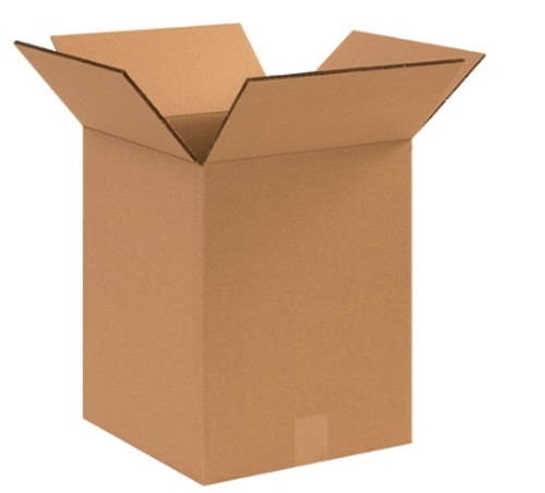 "12 1/2"" x 12 1/2"" x 15"" (DW/ECT-48) Heavy Duty Double Wall Kraft Corrugated Cardboard Shipping Boxes"