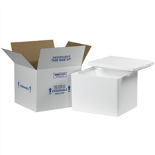 """12"""" x 10"""" x 9"""" Insulated Shipping Kits. EPS Foam Container with Lid & 200#/ECT-32 White Corrugated Cardboard Carton."""
