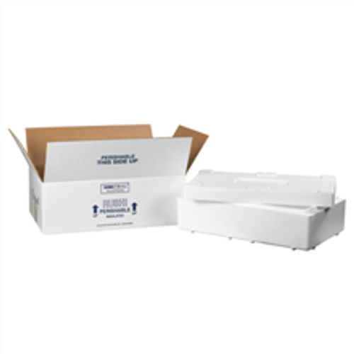 """19 1/2"""" x 11 1/2"""" x 4 1/8"""" Insulated Shipping Kits. EPS Foam Container with Lid & 200#/ECT-32 White Corrugated Cardboard Carton."""