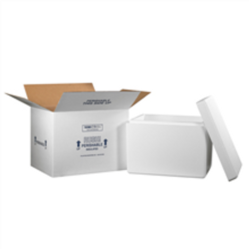 """21 1/4"""" x 15 1/2"""" x 15 1/2"""" Insulated Shipping Kits. EPS Foam Container with Lid & 200#/ECT-32 White Corrugated Cardboard Carton."""