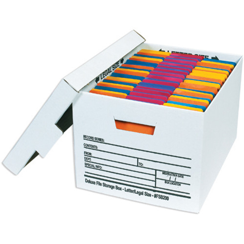 """15"""" x 12"""" x 10"""" (200#/ECT-32) White Corrugated Cardboard Deluxe File Storage Boxes"""