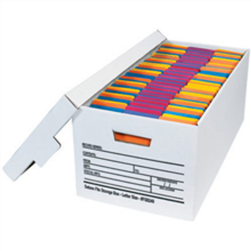 """24"""" x 12"""" x 10"""" (200#/ECT-32) White Corrugated Cardboard Deluxe File Storage Boxes"""