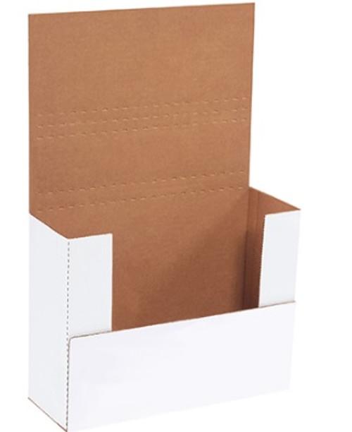 "11 1/8"" x 8 5/8"" x 4"" (200#/ECT-32-B) White Corrugated Cardboard Easy-Fold Mailers"
