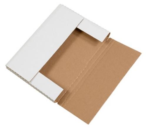 "12 1/8"" x 9 1/8"" x 1"" (200#/ECT-32-B) White Corrugated Cardboard Easy-Fold Mailers"
