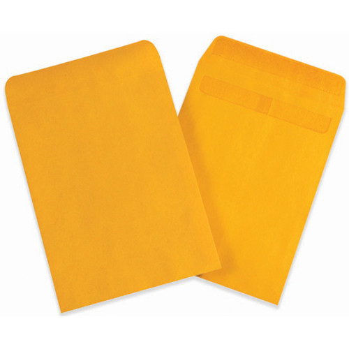 """6 1/2"""" x 9 1/2"""" Kraft Redi-Seal Envelopes Fold Flap, Press Down, and Mail. No Moisture Needed to Seal."""
