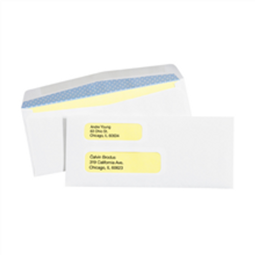 """3 7/8"""" x 8 7/8"""" Double Window White Gummed Business Envelopes with Security Tint."""