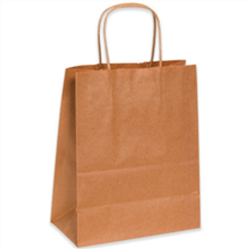 """8"""" x 4 1/2"""" x 10 1/4"""" Heavy Duty Kraft Paper Shopping Bags with Twisted Paper Handles"""