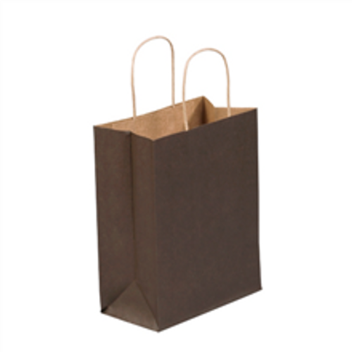 """8"""" x 4 1/2"""" x 10 1/4"""" Brown Tinted Paper Shopping Bags with Twisted Paper Handles"""