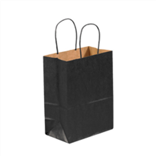 """8"""" x 4 1/2"""" x 10 1/4"""" Black Tinted Paper Shopping Bags with Twisted Paper Handles"""