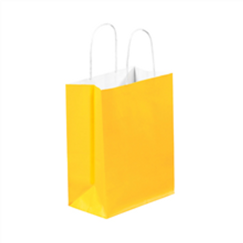 """8"""" x 4 1/2"""" x 10 1/4"""" Buttercup Tinted White Paper Shopping Bags with Twisted Paper Handles"""