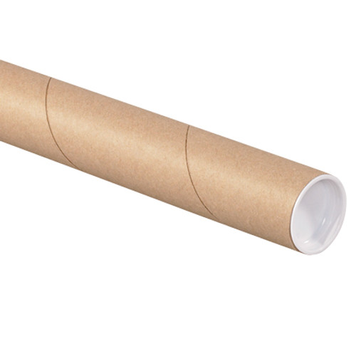 """3"""" x 26"""" Kraft Mailing Brown Shipping Tubes with End Caps"""
