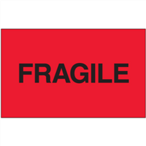 """""""Fragile"""" (Fluorescent Red) Shipping and Handling Labels"""