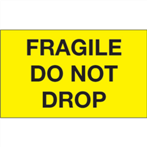 """""""Fragile - Do Not Drop"""" (Fluorescent Yellow) Shipping and Handling Labels"""