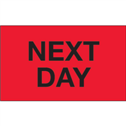 """""""Next Day"""" (Fluorescent Red) Shipping and Handling Labels"""