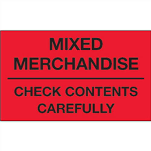 """""""Mixed Merchandise - Check Contents Carefully"""" (Fluorescent Red) Shipping and Handling Labels"""