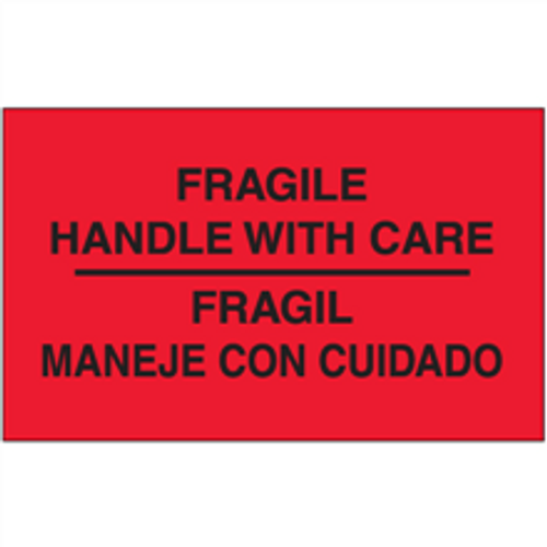 """""""Fragil - Maneje Con Cuidado""""  (Fluorescent Red) Bilingual Shipping and Handling Labels"""