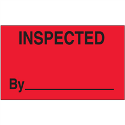 """""""Inspected By"""" (Fluorescent Red) Production Labels"""