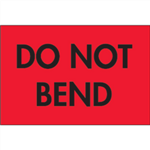 """""""Do Not Bend"""" (Fluorescent Red) Shipping Labels"""