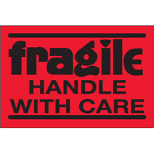 """""""Fragile - Handle With Care""""  (Fluorescent Red) Shipping Labels"""