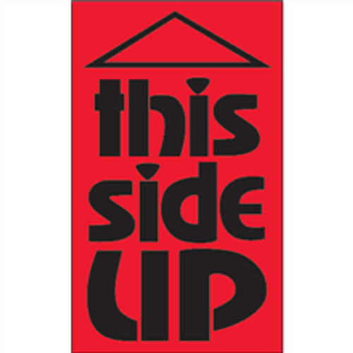 """""""This Side Up"""" (Fluorescent Red) Shipping Labels"""