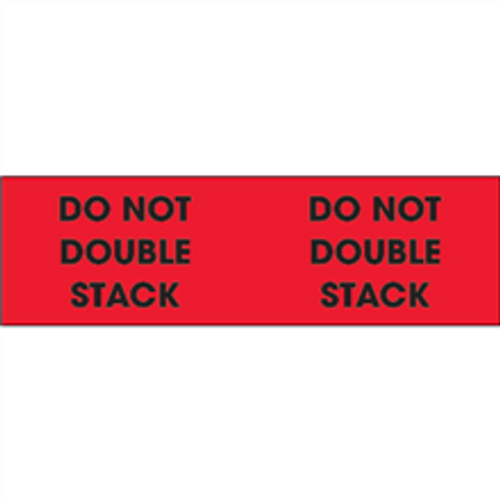 """""""Do Not Double Stack"""" (Fluorescent Red) Pallet Corner Labels"""