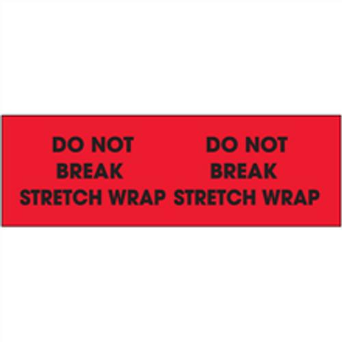"""Do Not Break Stretch Wrap""  (Fluorescent Red) Pallet Corner Labels"