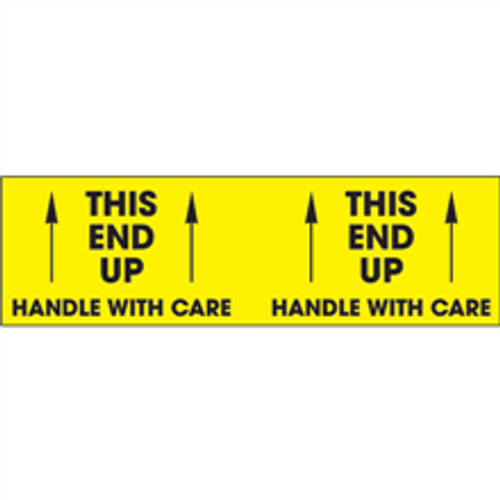 """""""This End Up - Handle With Care""""  (Fluorescent Yellow) Pallet Corner Labels"""