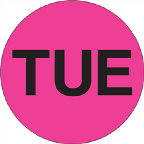 """""""TUE"""" - Day of the Week Circle Labels Fluorescent Pink"""