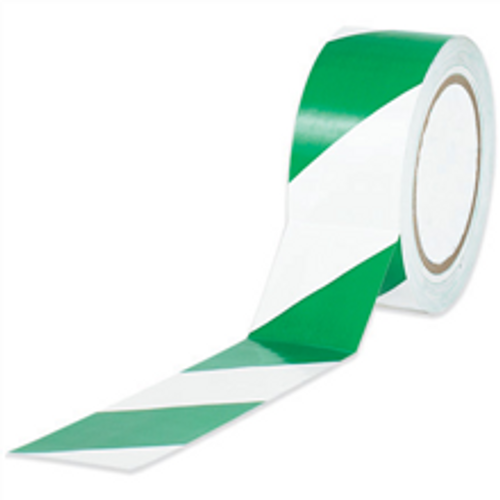 Striped Vinyl Safety Tape First Aid / Safety Equipment Tape Green and White