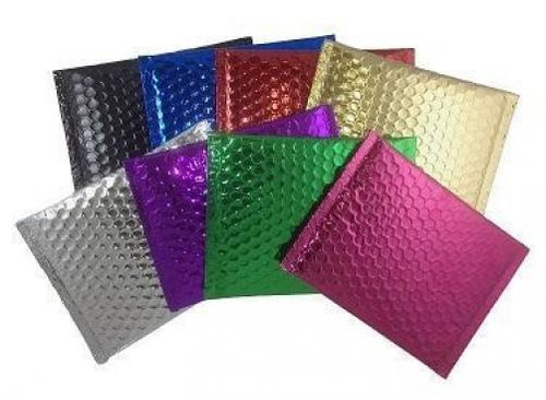 Metallic Self Seal Bubble Mailers Envelopes. Black, Blue, Gold, Green, Hot Pink, Purple, Red, Silver, & Translucent Silver Foil Blingvelopes