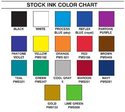 Custom Printed Tape Ink Color Chart