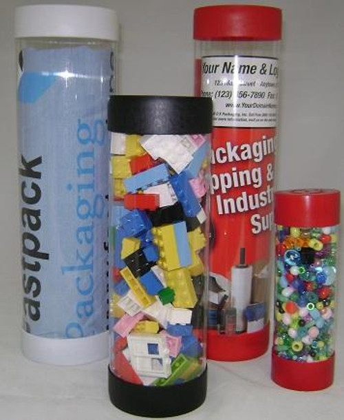 """1 1/2"""" x 4"""" Clear Plastic Mailing Shipping Tubes with End Caps"""