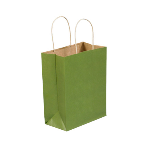 """8"""" x 4 1/2"""" x 10 1/4"""" Green Tea Tinted Paper Shopping Bags with Twisted Paper Handles"""