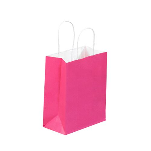"""8"""" x 4 1/2"""" x 10 1/4"""" Cerise Tinted White Paper Shopping Bags with Twisted Paper Handles"""
