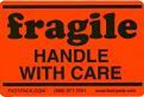 Fragile Handle with Care Fluorescent Orange Shipping Labels